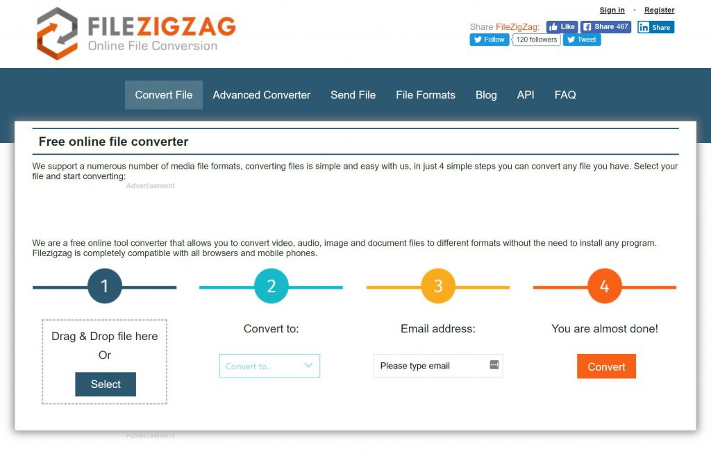 www.filezigzag.com  online video converter screenshot