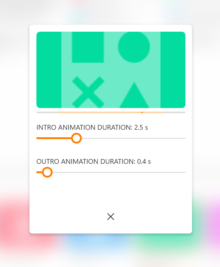 Select duration of the animation effect