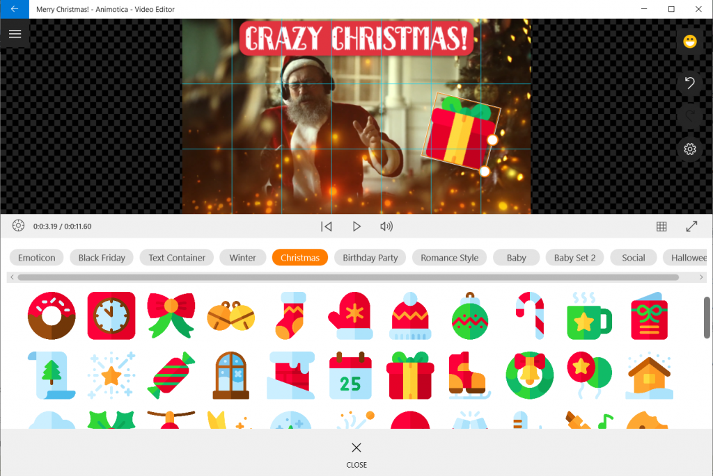 Add Christmas stickers to your video