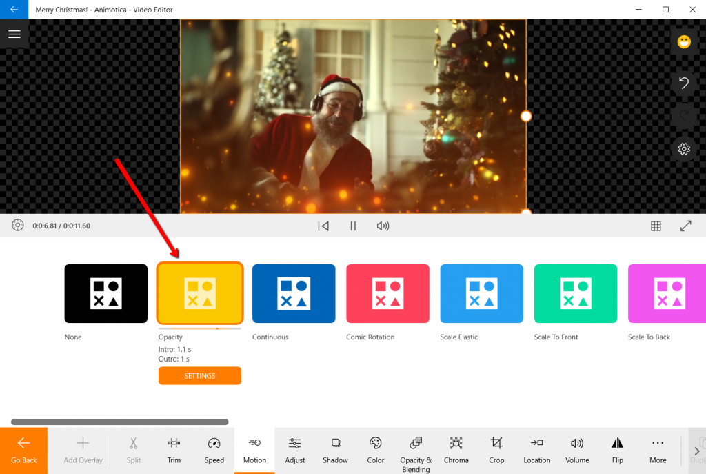 Add opacity Motion to your video overlay